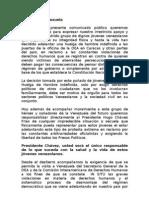 Comunicado exiliados en Perú en apoyo a huelguistas