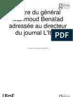 Lettre du général Mahmoud Benaïad adressée au directeur du journal L'Italie 1875
