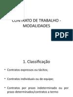 CONTRATO DE TRABALHO - MODALIDADES