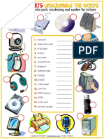 Computer Parts Vocabulary Esl Unscramble the Words Worksheet for Kids