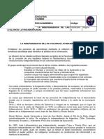 INDEPENDENCIA DE LAS COLONIAS LATINOAMERICANAS 8º
