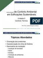 7 - Conforto Ambiental em Edificações Sustentáveis - Construção Sustentável_UII_Conforto Térmico_Goiânia