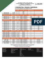 Tabela Produtos Pesos Medidas de FERRAGENS