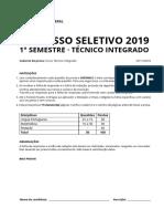 Prova Cursos Integrados Vestibular 2019-1