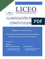 CLASIFICACIÓN DE LAS CONSTITUCIONES. EQUIPO 1
