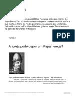 A Igreja pode depor um Papa herege_ – Mãe da Salvação