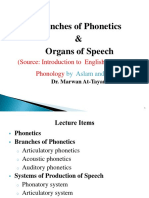 1 Branches of Phonetics and Organs of Speech 2021