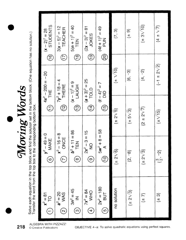 B0b Middle School Math Pizzazz Worksheet Answers Moving