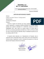 ARQUIPRO Carta de aceptacion del pasante Wilson De la cruz