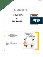 TROMBOSE e EMBOLIA - Alterações Circulatórias