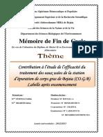 Contribution à l'Étude de l'Efficacité Du Traitement Des Eaux Usées de La Station d'Épuration de Corps Gras de Bejaia (CO.G.B) Labelle Après Ensemencement
