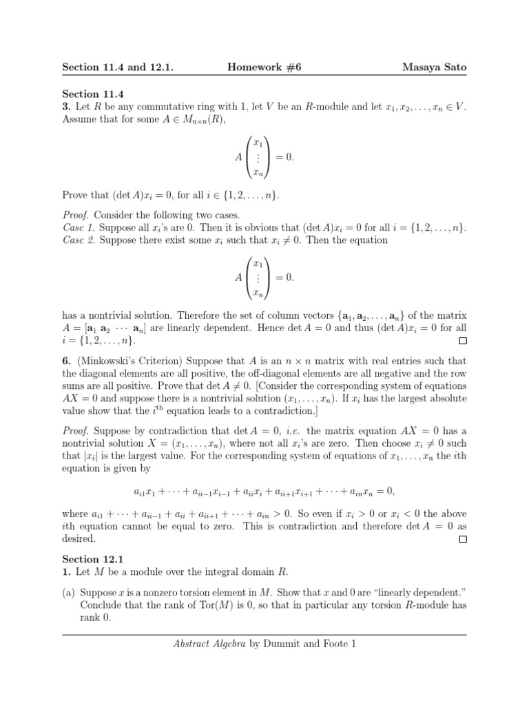 Homework #6, Sec 11.4 and 12.1 | Module (Mathematics) | Basis (Linear  Algebra)