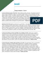 Lecturas del Domingo 4º del Tiempo Ordinario - Ciclo B