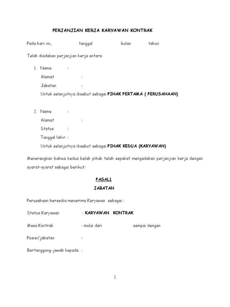 Perjanjian Kerja Karyawan Kontrak