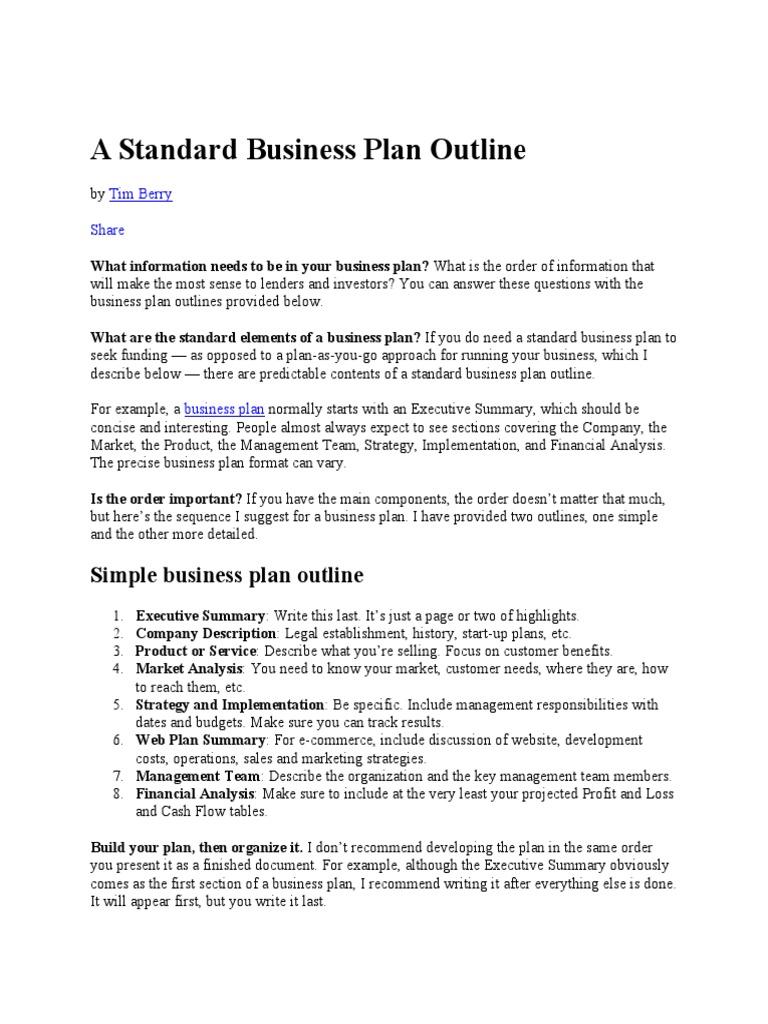 A Standard Business Plan Outline | Sole Proprietorship | Partnership