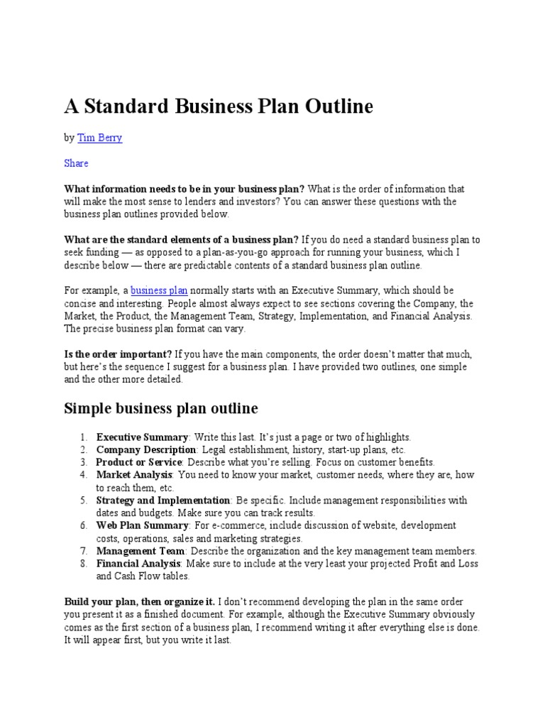 a standard business plan outline sole proprietorship partnership