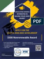 Dccpta Scholarship Flyer 2020-2021 Qrc