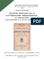 Joseph ANGLADE - Histoire sommaire de la littérature méridionale au moyen-âge