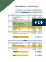 Presupuesto mobiliario y gastos fijos