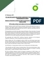 BP Reliance press release