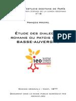François MALVAL - Étude des dialectes romans ou patois de la Basse-Auvergne