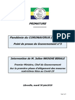 GABON 15 Premier Ministre Point Presse 3 Phase 1 Dallègement Des Mesures Restrictives 20200630
