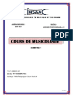 COURS MUSICOLOGIE