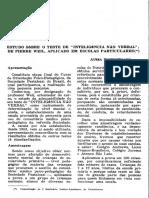 1955 - Estudo sobre o teste de inteligência não verbal de Pierre Weil, aplicado em escolas particulares - Schechtmann