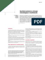 Anesthésie Générale en Chirurgie Stomatologique Et Maxillofaciale