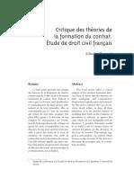 Critique des théories de la formation du contrat. Étude de droit civil français