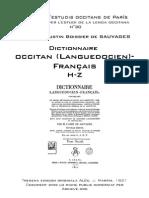 Abbé de SAUVAGES - Dictionnaire occitan (languedocien)-français - 2 (H-Z)