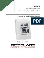 Manual de Instalacion Del Controlador AC 115 de Rosslare (1)