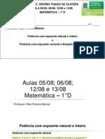 Aula 0508 0608 e 1208 e 1308 1 D Potenciação e notação cientifica