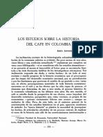BEJARANO, Jesús Antonio. Los estudios sobre la historia del café en Colombia