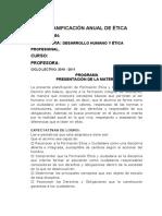PLANIFICACIÓN ANUAL DE ÉTICA