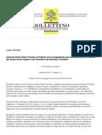 Carta del Santo Padre Francisco al Prefecto de la Congregación para la Doctrina de la Fe acerca