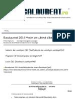 Bacalaureat 2016 Model de subiect si barem Sociologie - Bacalaureat