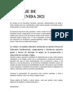 MENSAJE DE BIENVENIDA 2021