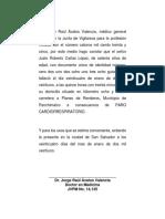 Acta de Defunción Roberto Cañas