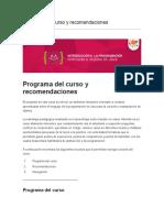 Programa del curso y recomendaciones