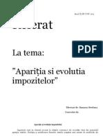 apritia si evolutia impozitului referat