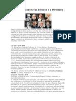 Eminentes Acadêmicos Bíblicos e o Ministério Feminino