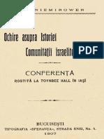 Ochire Asupra Istoriei Comunitatii Israelite Din Iasi - Conferinta Rostita La Toynbee Hall in Iasi - Dr I. Niemirower (1907) OCR