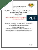 Acte III de la Décentralisation - Note de cadrage pour la mise en oeuvre du Schéma de l'Acte III