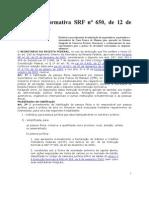 Instrução Normativa SRF n650