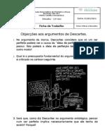 Ficha de trabalho 11º ano - críticas a Descartes