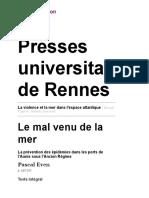 La violence et la mer dans l'espace atlantique - Le mal venu de la mer - Presses universitaires de Rennes