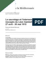 Le sauvetage et l'internement des rescapés du Léon Gambetta 27avril - 30mai 1915