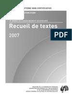 Evaluation non certificative - 2007 - 2e secondaire commune et complA�mentaire - Lecture - Recueil d (ressource 2069)