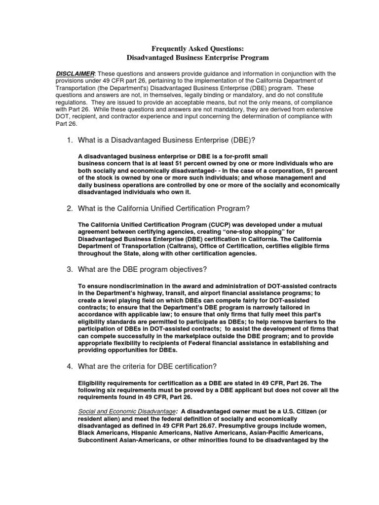 Disadvantagedbusinessenterprisedbeprogramfaqs Small Business